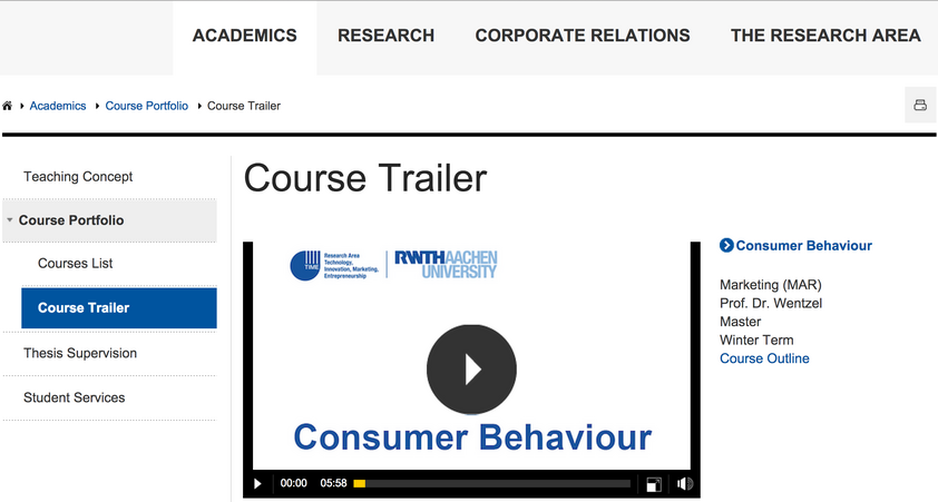 Screenshot of the Course Trailer Website