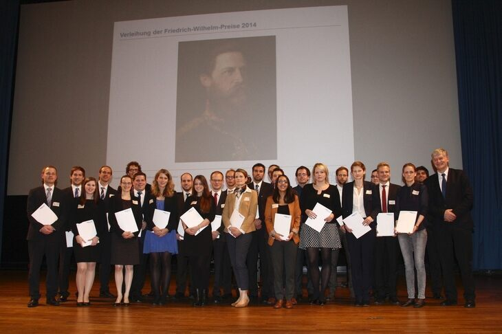 Rector Ernst Schmachtenberg and the 2014 award winners