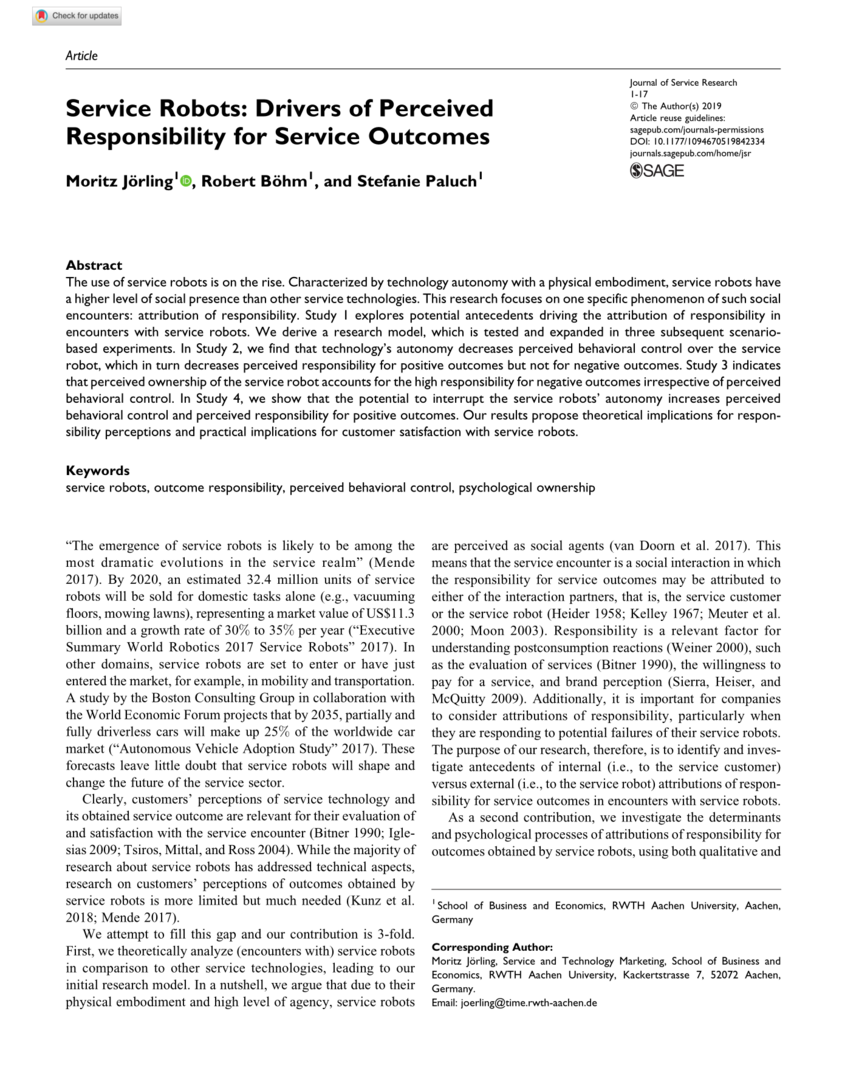 Service Robots: Drivers of Perceived Responsibility for Service Outcomes
